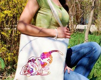 Dog tote bag -  Cute dog shoulder bag - Fashion canvas bag - Colorful printed market bag - Gift Idea