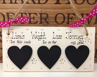 Personalised Weight Loss Journey Chalkboard Plaque, Weight Watchers, Slimming World, Diet, Target Weight, Flowers