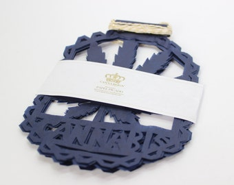 Single Leaf Papel Picado Navy Medium