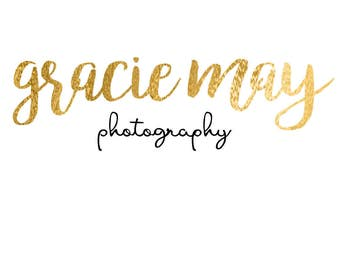 Premade photography logo, gold foil -Customizable