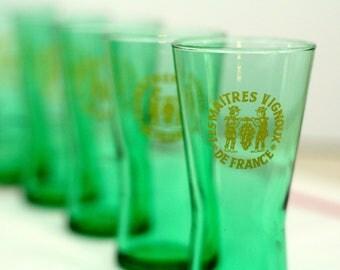 Vintage shot glasses - set of 6 – green – Les Maitres Vignoux de France – french - retro - bar, café