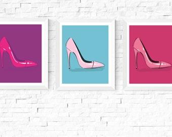 50% OFF Sale - Pop Art Shoes Art Printables | 3 Set | Pink, Blue and Purple | Pop Art | Fun Art | Contemporary Art |Prints | Art Printables