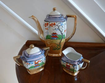 Japanese hand painted coffee set