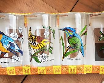 Vintage Glasses in Box, Bird Designs, Reims VM France