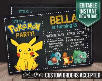 Pokemon Invitation, Pokemon invite, Pokemon birthday,Pokemon editable instant download, Pokemon party, Pokemon Printable, Pokemon