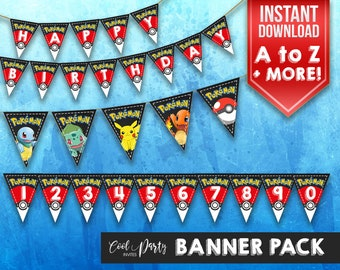 Pokemon bunting, Pokemon banner, Pokemon birthday, Pokemon flag, Pokemon garland, Pokemon printable, Pokemon flags