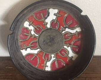 Vintage Red, Black, Burnt Orange and White Ceramic Ashtray With Abstract Geometric Design