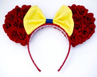 Snow White inspired Mickey/Minnie Ears, Red Rose with Yellow Bow Floral Ears