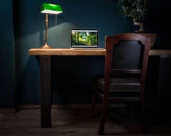 Desk Ingvar solid wood oak steel frame