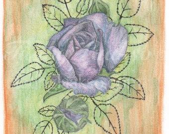 Purple Rose Note Card
