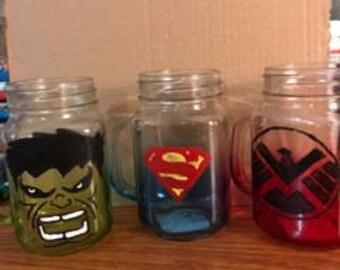 Custom made Personalized Superhero or Villain mason jar mugs