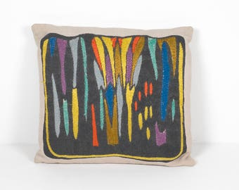 Vintage Ilse Roempke Embroidery Pillow Hand Embroidered Swedish Cushion 1950 Mid Century Modern Scandinavian Design Modernist Textile Art