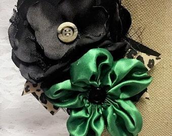 Kelly Green, Black, & Leopard Fabric Flower, Flower Corsage, Flower Pin Accessory