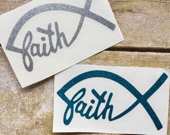 faith decal / glitter decal / christian decal / faith sticker / vinyl decal / car decal / window decal / religeous decal / Jesus fish decal