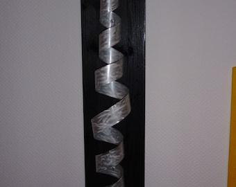 """Large modern abstract wood aluminium artist wall sculpture """"Spow"""" en 90 cm contemporary art sculpture métal escultura en metal"""