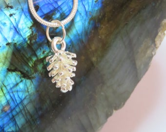 Small and Dainty Silver Pine Cone Pendant Necklace