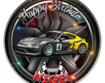 Porsche Racing Personalised Edible Icing. Birthday Cake Topper Decoration 7.5""