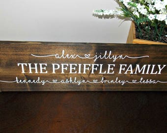 Personalized Family Sign | 6 x 24 | rustic decor | wood sign | farmhouse | wall decor