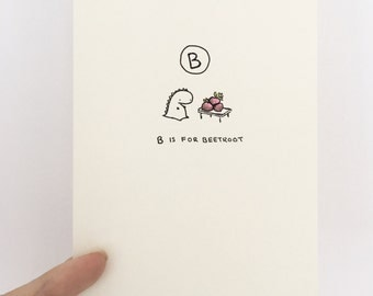 Adorable Hand Drawn Letter Card (B)