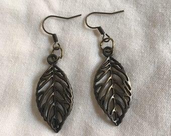 Bronze leaf earrings boho