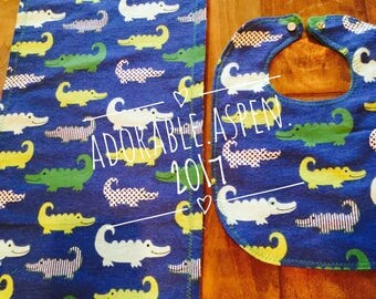 Baby Boy Bib & burp cloth - Alligators - Blue + Green
