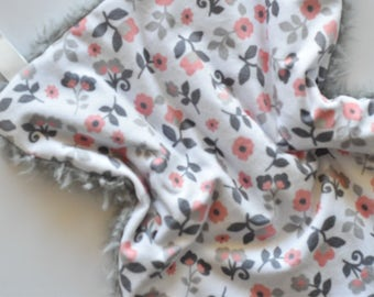 READY TO SHIP,  flowers lovey, baby girl, floral lovey, baby blanket, minky lovey, Baby girl blanket, pink blanket, Baby Blanket, lovey