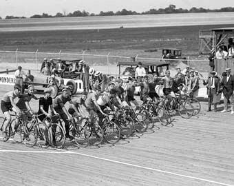 "1925 Bicycle Race, Laurel Track, Maryland Vintage Photograph 8.5"" x 11"" Reprint"