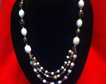 Vintage Beaded Triple Tier Necklace