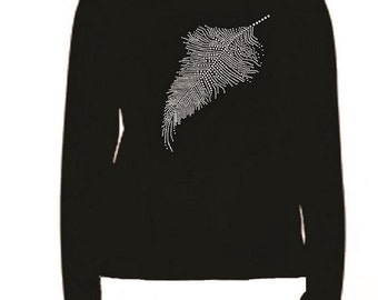 Rhinestone Crystal Feather Lightweight Long sleeve T-Shirt                             HT7V feather