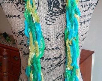 Lemon Lime Fashion Scarf/Summer Scarf/Spring Scarf/Blue Green Yellow Scarf