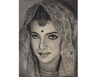 Rajastani Bride -  Archival Print from a Charcoal Painting