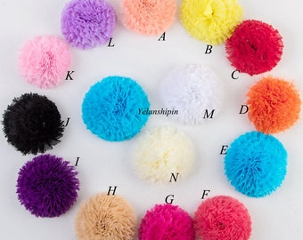 Frayed Chiffon Flowers For Baby Hair Accessories Artificial Chic Shabby Fabric Flowes For Headbands Diy Flower Supplies 3.6""