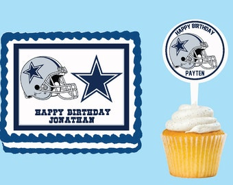 Dallas Cowboys Edible Cake Cupcake Cookie Toppers Decorations  Or Plastic cupcake pick top for birthday party