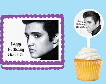 Elvis Presley Edible Cake Cupcake Cookie Toppers Decorations  Or Plastic cupcake pick top for birthday party