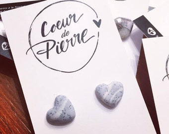 Dark natural stone heart earrings