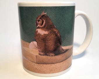 "Vintage Coffee Mug-Will Bullas-Baseball-Owl-""Hoos On First""-Cypress Point Trading Co-Baseball Novelty-Owl Collector"