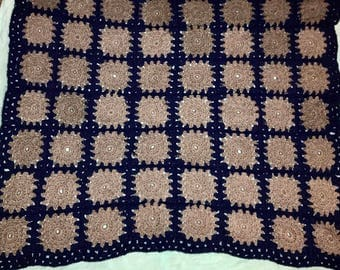 Gray and blue Granny Square blanket