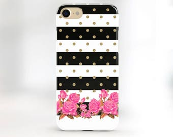 iPhone 6 Case Floral Chevron Phone Case Striped Gold Case iPhone 7 Chevron Case iPhone 6s Case Floral 6s Plus Case Gold 5s Case Pink Flowers