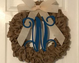 Burlap Wreathe with Blue Initial