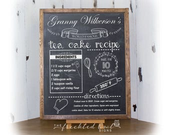 Chalkboard Recipe Sign, Family Recipe Keepsake, Chalk Art, Chalkboard Recipe Art, Kitchen Decor, Personalized Recipe, Canvas Sign, Framed
