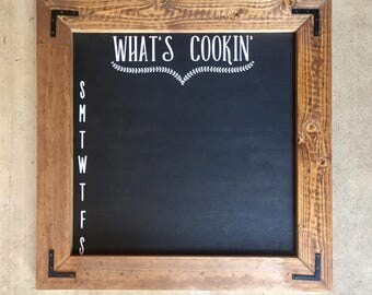 "Menu Chalkboard ""What's Cookin"", Custom Chalkboard, Menu Chalkboard, Kitchen Chalkboard"