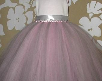 Tutu Flower girl Dress, Special occasion Tutu Dress, Young Bridesmaid Tutu Dress, Ivory Pink and Silver Tutu Dress,