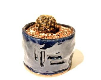 Rustic handmade planter - blue