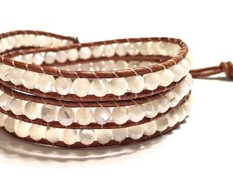 Handmade Mother of Pearl Triple Wrap bracelet