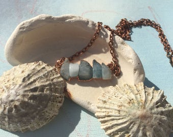 Aquamarine and Copper necklace.