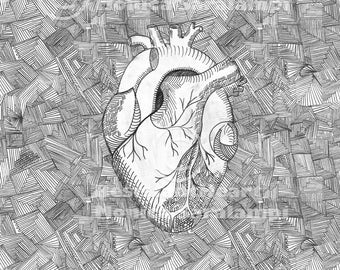 Telltale Heart Picture- Edgar Allan Poe- Anatomical Heart, Zentangle, Black and White, Monochrome, Repeating Pattern