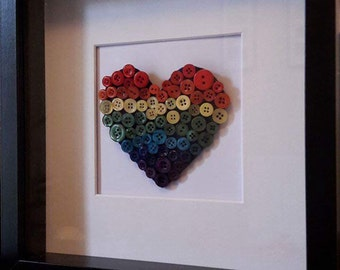 Rainbow Heart Button Art