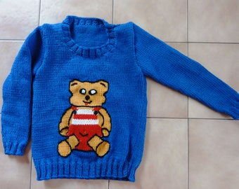 """Blue children sweater """"Bear"""" Gr. 98 / 104"""