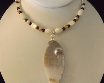 Mother of Pearl Leaf on Beaded Necklace