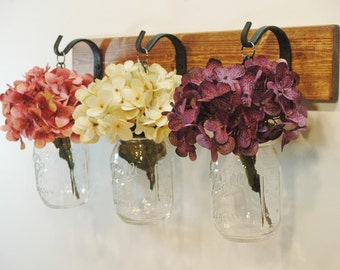 Mason Jar Wall Decor, Kitchen Decor, Bathroom Decor, Farmhouse Kitchen, Hydrangea Flower, Home Decor, Wall decor, Mason Jar sconce,